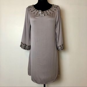 Alice + Olivia Gray Silk Beaded Tunic Dress